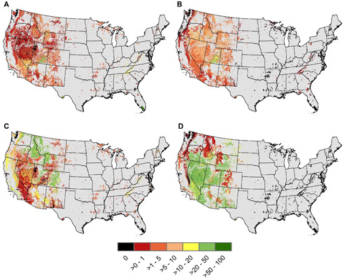 Maps showing percent change of each ecological system