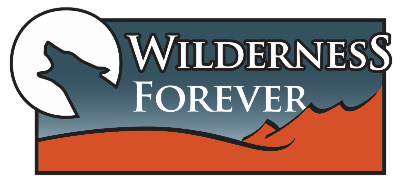 Wilderness Forever logo with wolf howling